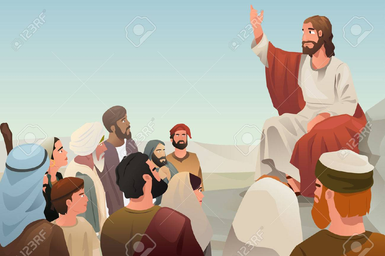 A illustration of Jesus spreading his teaching to people Stock Vector - 39844737