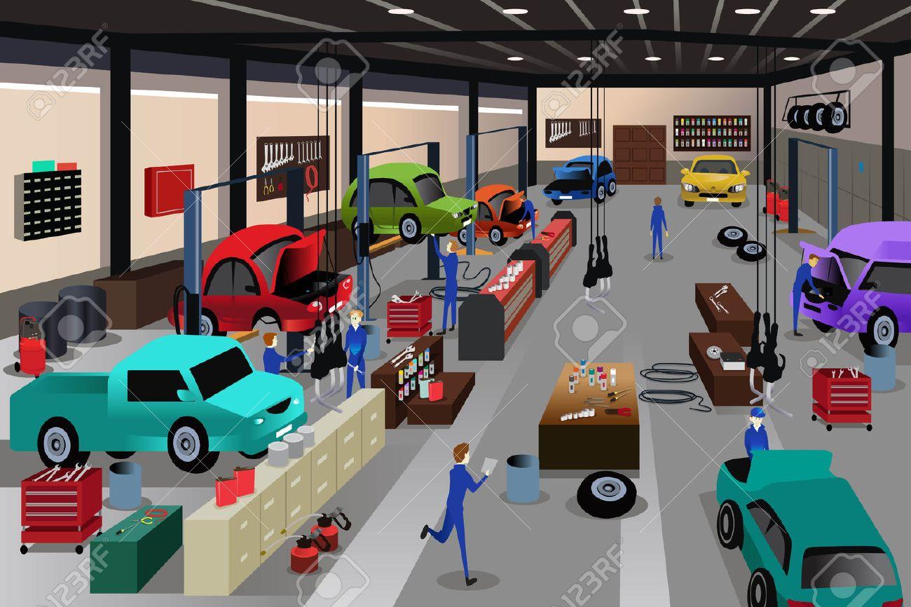 Une illustration de vecteur de scènes dans un atelier de réparation automobile Banque d'images - 42168472