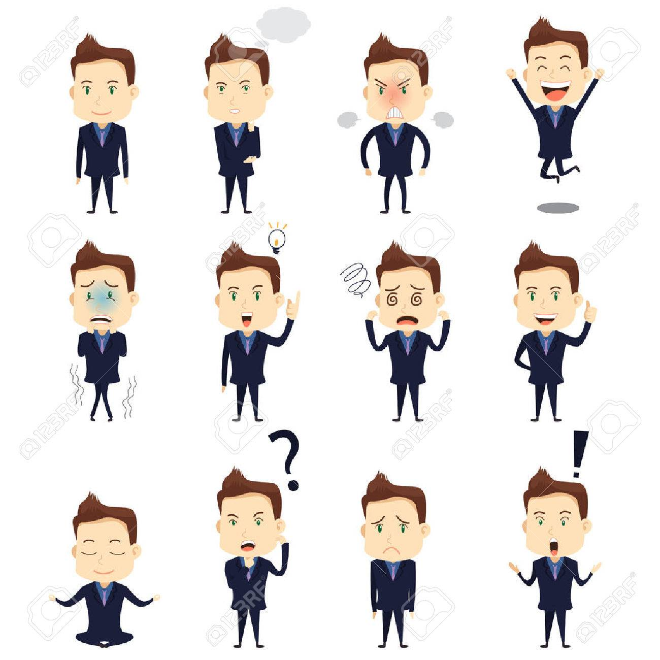 A vector illustration of businessman expression icon sets Stock Vector - 42155117