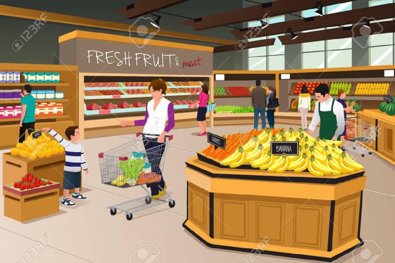 Una ilustración vectorial de la madre y su hijo de compras en una tienda de comestibles Foto de archivo - 43273538