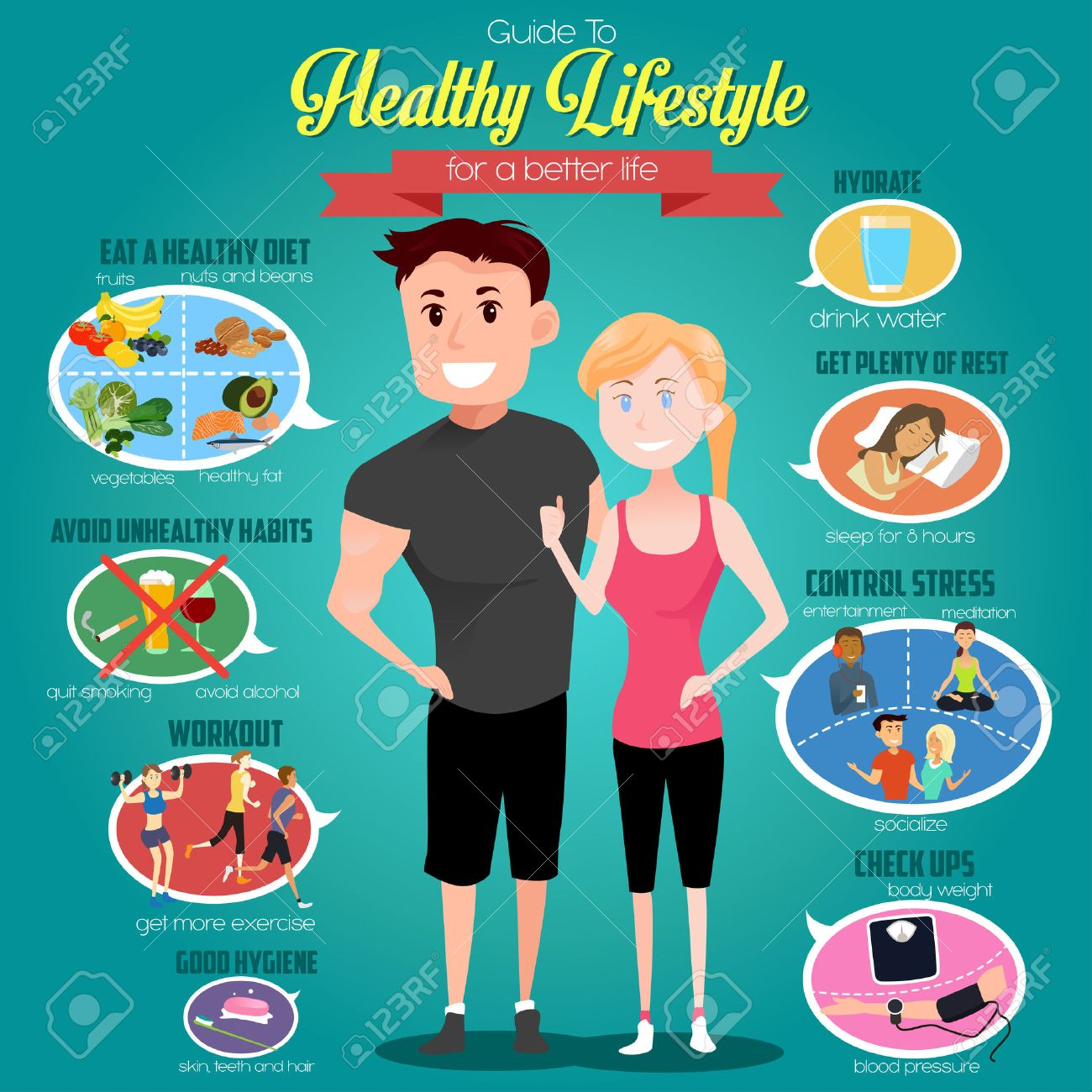 A vector illustration of infographics of a guide to healthy lifestyle for a better life Stock Vector - 43609211
