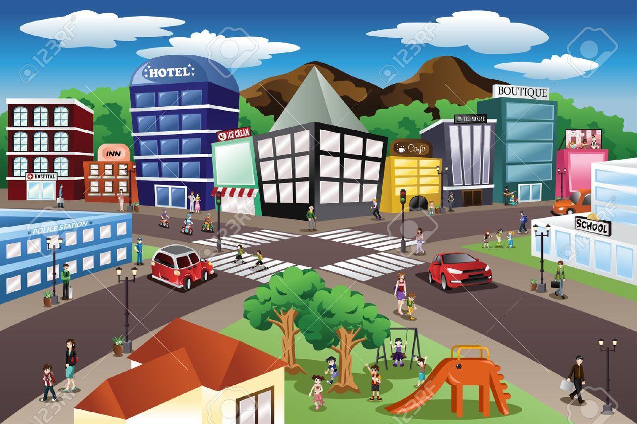 Une illustration de vecteur d'scène de ville Banque d'images - 44081889