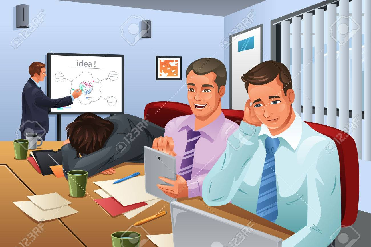 A vector illustration of businessman giving a presentation and his colleagues are not paying attention to him Stock Vector - 44081908