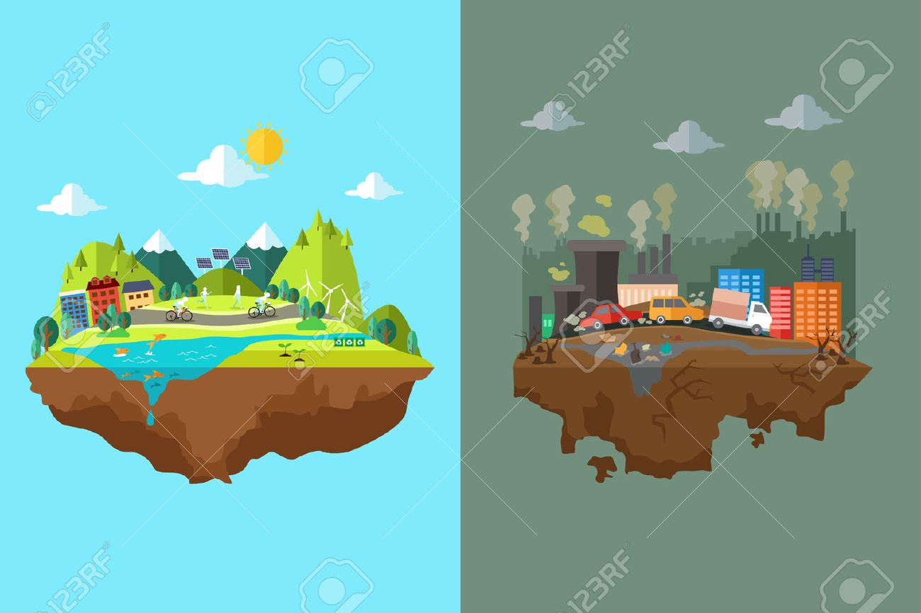 A vector illustration of comparison of clean city and polluted city - 44081916