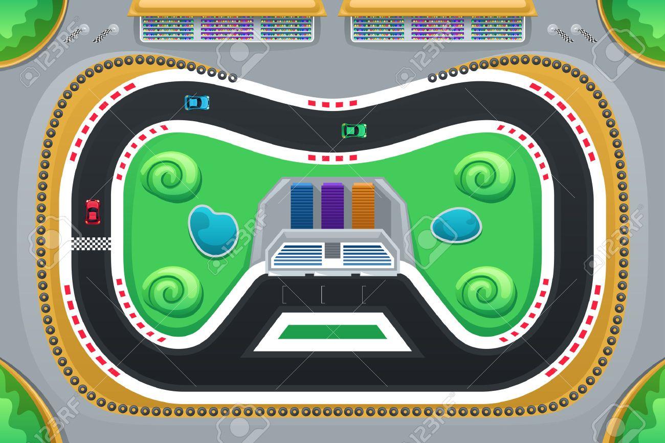 Une illustration de vecteur d'jeu de course de voiture vue de dessus Banque d'images - 44805743