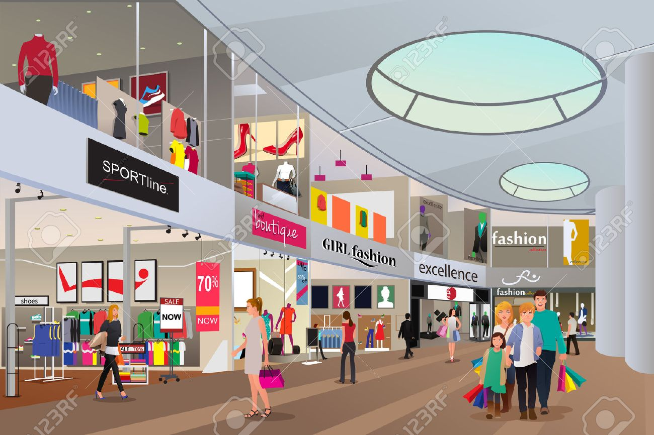A vector illustration of people  shopping in a mall Stock Vector - 44895589