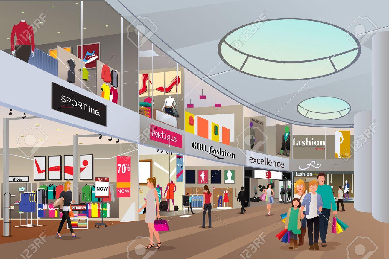 Une illustration de vecteur d'achats de personnes dans un centre commercial Banque d'images - 44895589