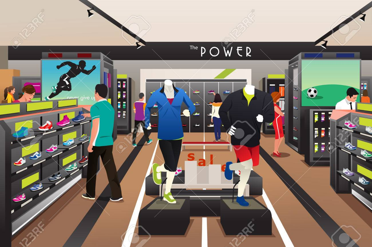 Une illustration de vecteur de personnes shopping pour les chaussures dans un magasin de sport Banque d'images - 45297267