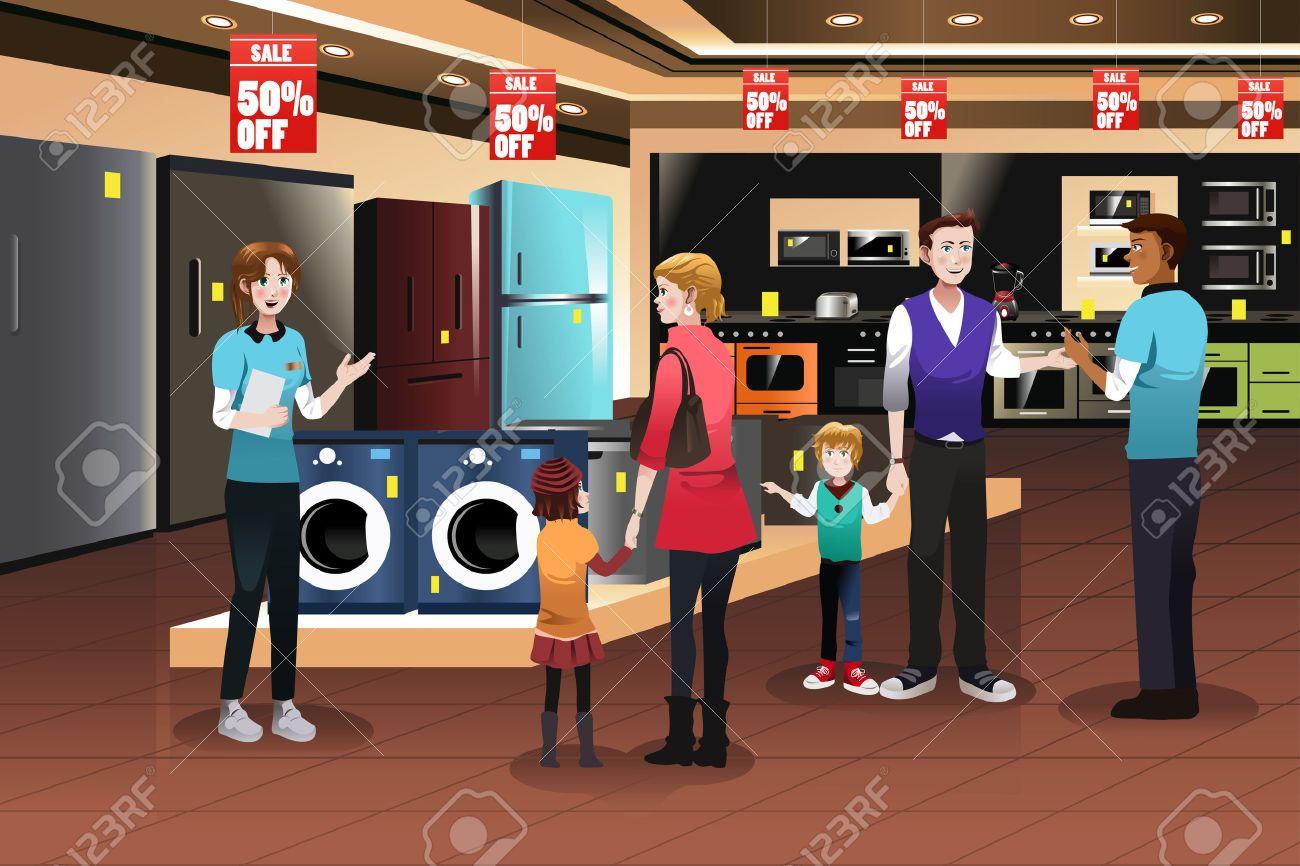 Una ilustración vectorial de compras de la familia feliz por electrodomésticos en la tienda Foto de archivo - 45786403