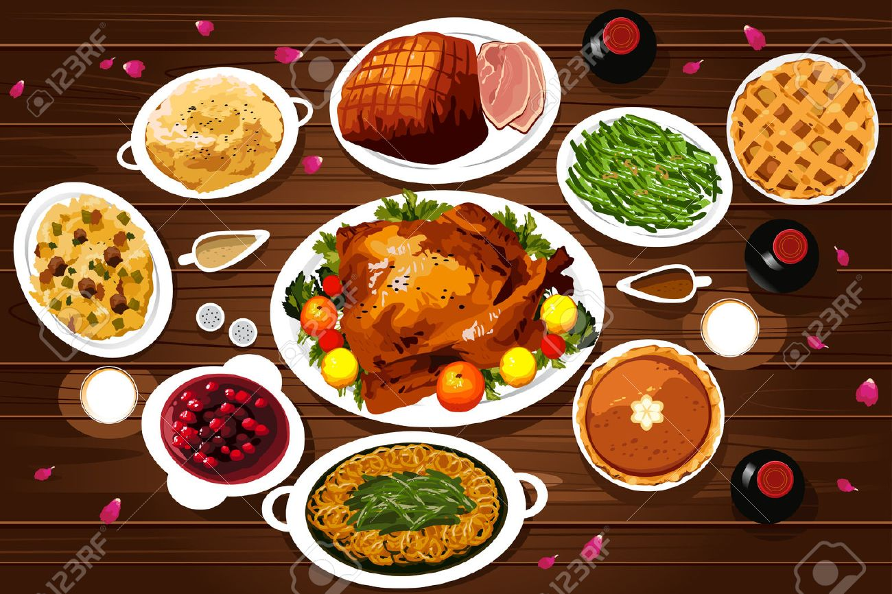A vector illustration of food of thanksgiving dinner on the table viewed from above Stock Vector - 45834227