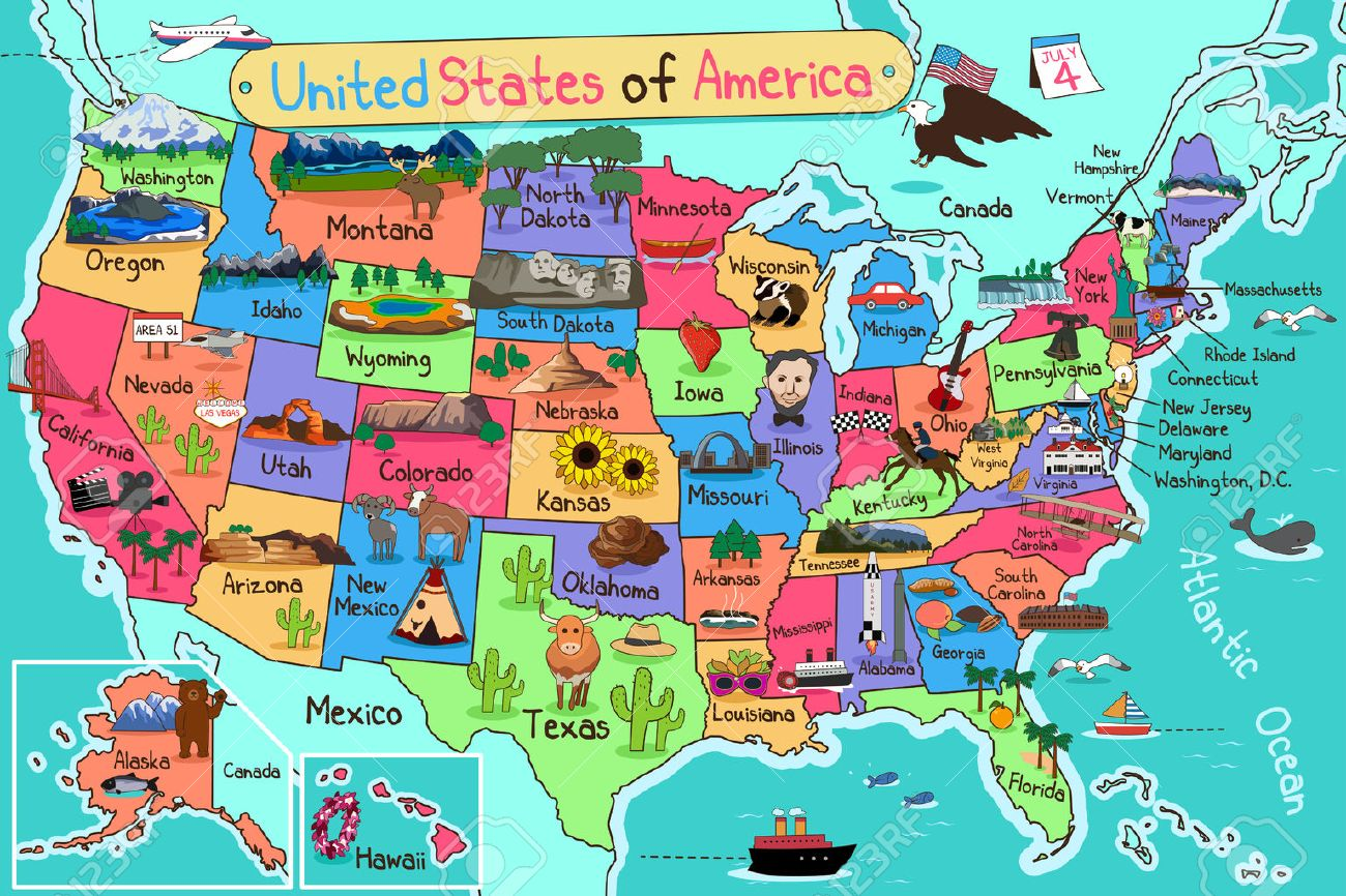 A Vector Illustration Of USA Map In Cartoon Style Royalty Free ...