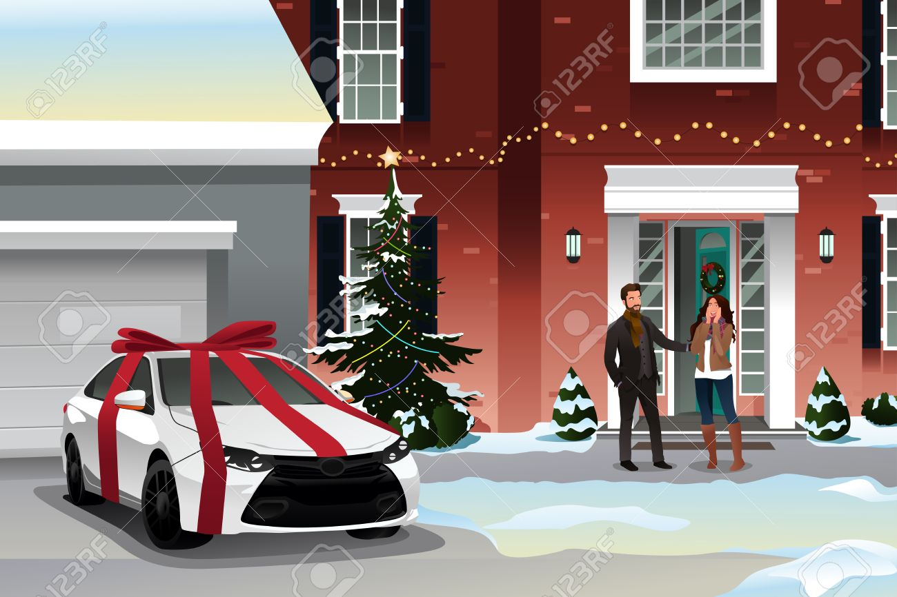 Awesome Christmas Gifts For Wife Part - 42: Good A Vector Of Husband Giving His Wife A Car As A With Christmas Gifts  For Wife.
