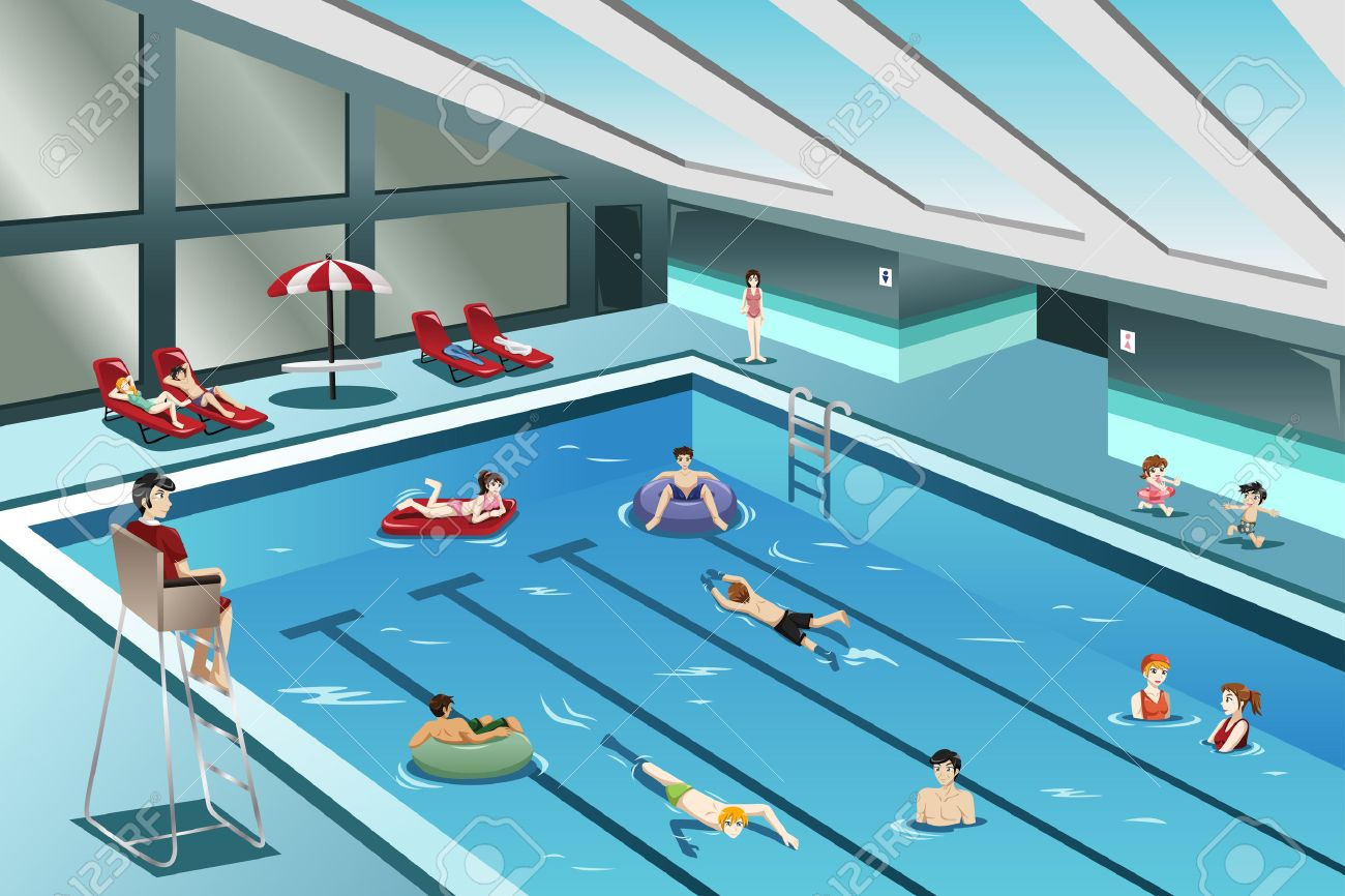 A vector illustration of people going swimming indoor Stock Vector - 46610855