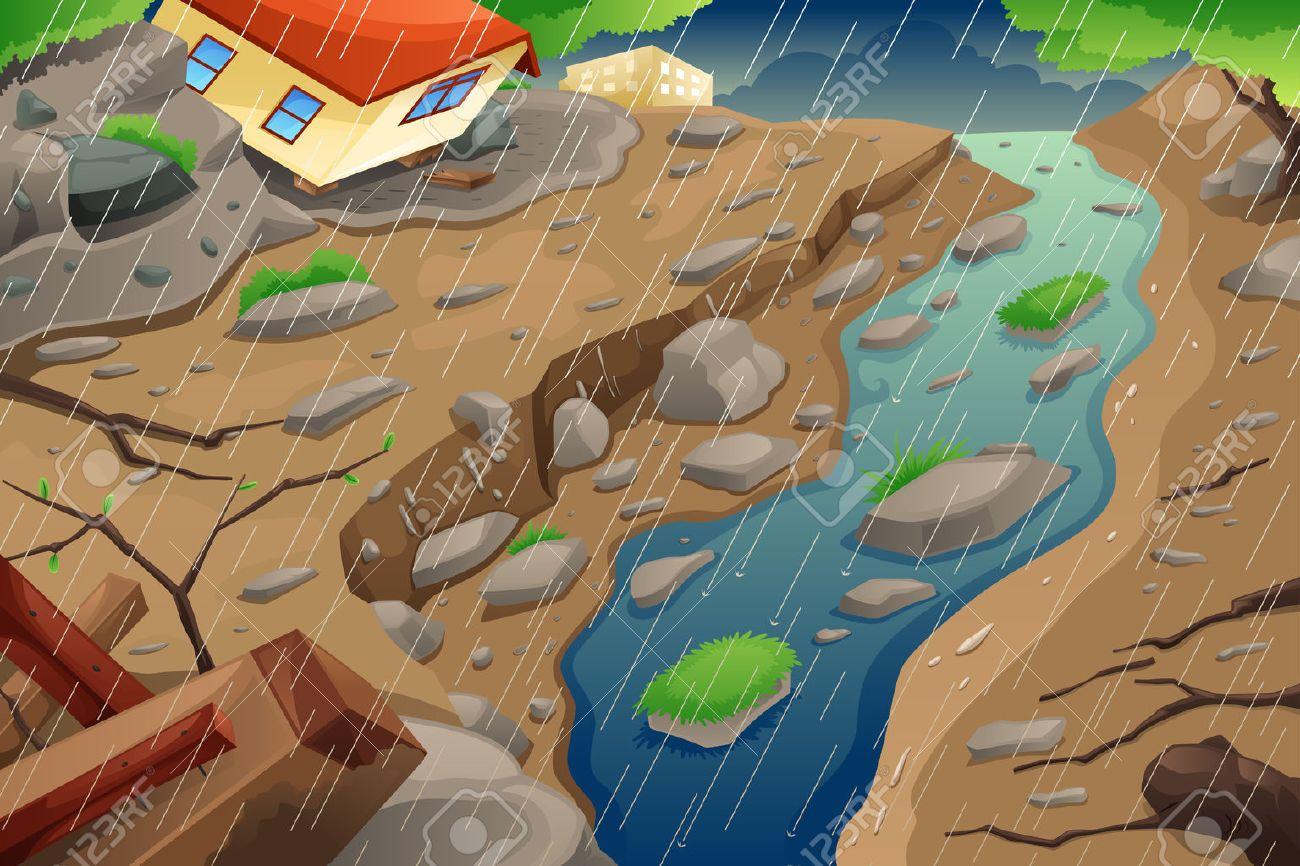 A vector illustration of monsoon rain resulting in flood an mudslide Stock Vector - 46611067