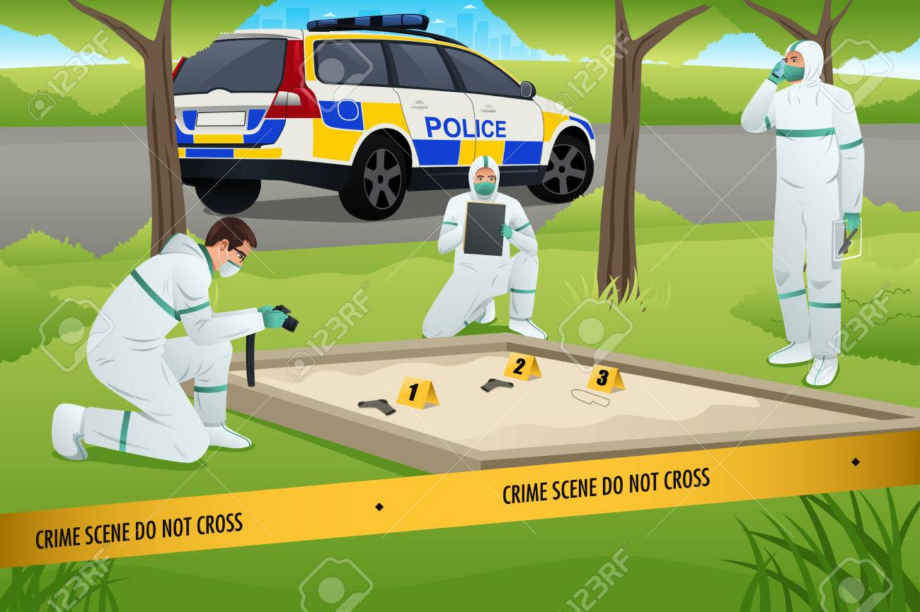 A vector illustration of forensics working on a crime scene - 48782904