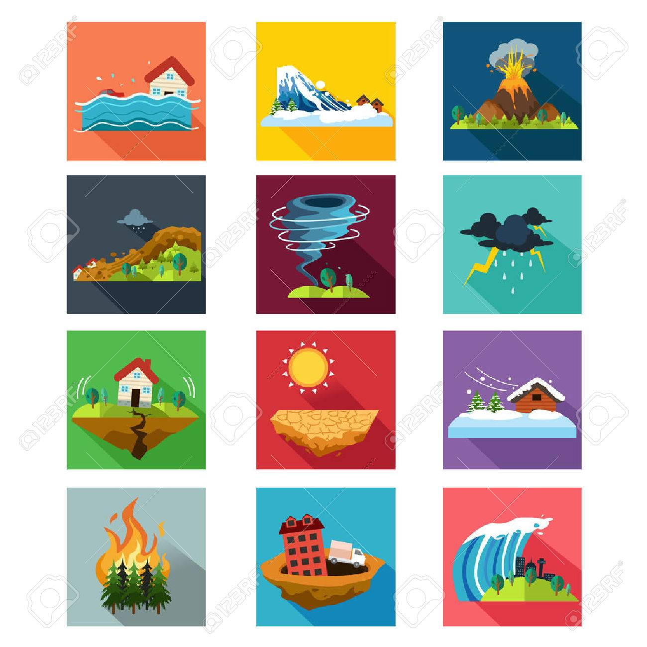 A vector illustration of natural disaster icon sets Stock Vector - 48786546