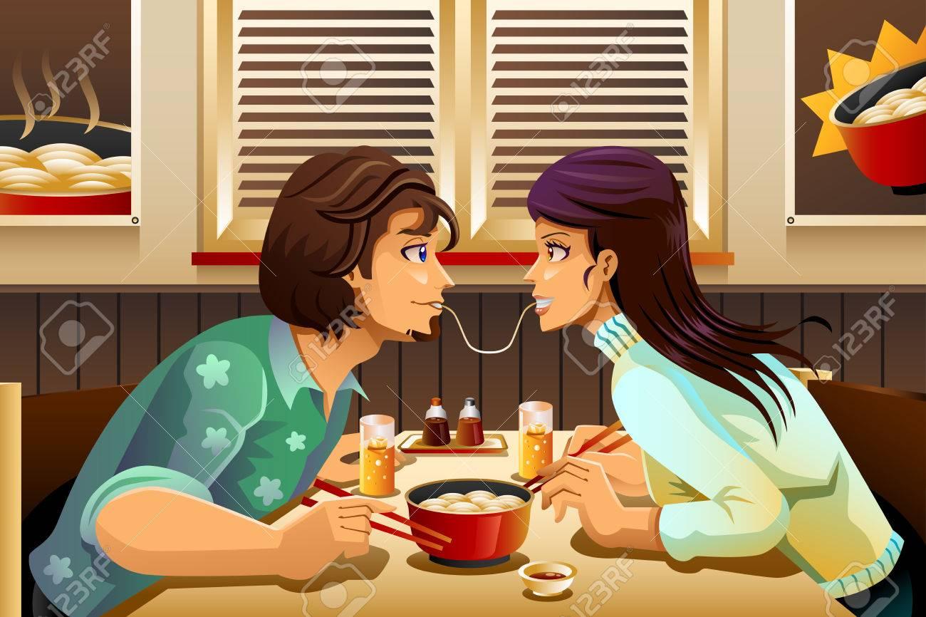 A vector illustration of romantic couple eating noodle together Foto de archivo - 48838866