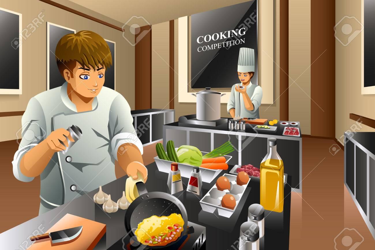una illustrazione vettoriale di chef in gara di cucina clipart ... - Gara Di Cucina