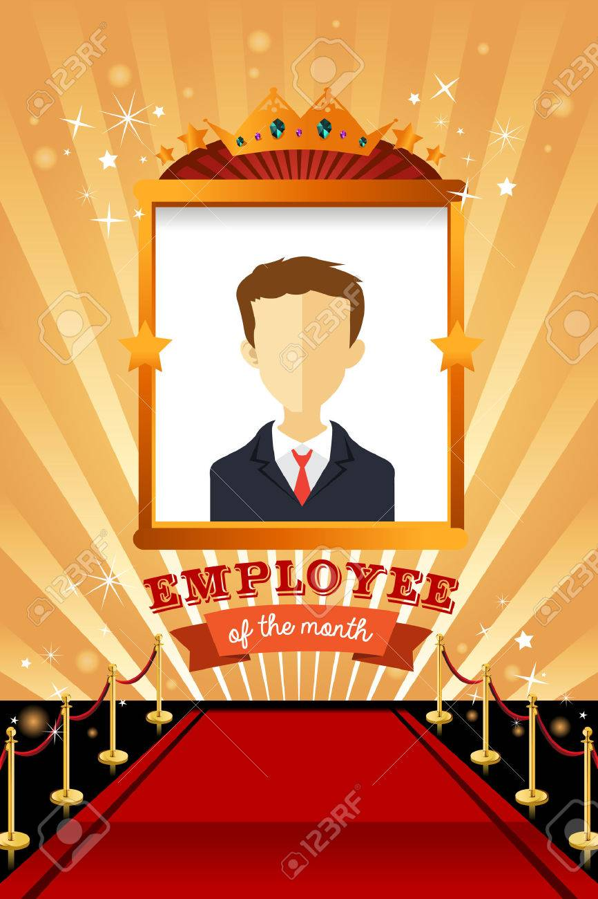 A Vector Illustration Of Employee The Month Poster Frame Design Stock