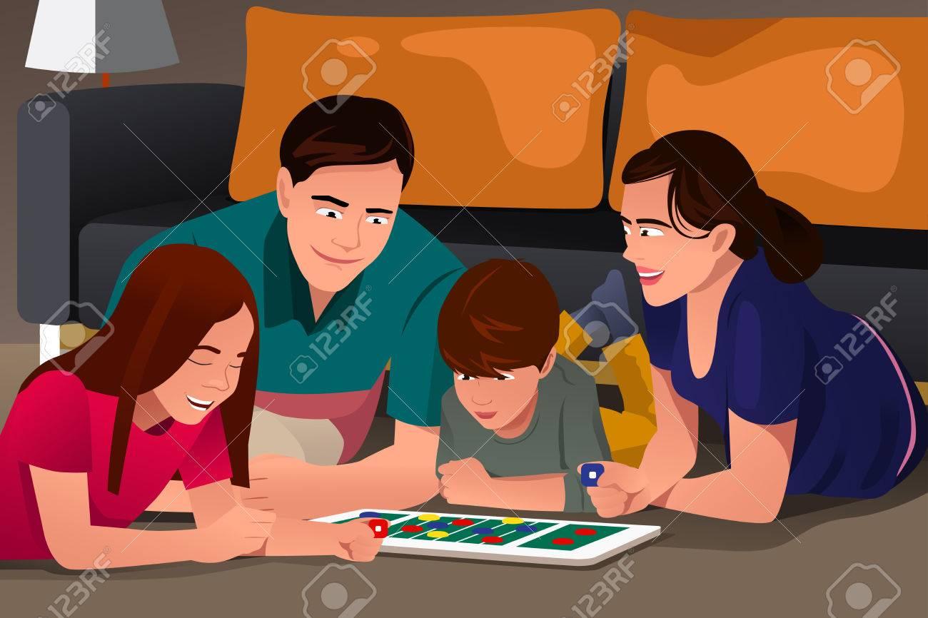 Una Ilustracion Del Vector De La Familia Feliz Jugando Un Juego De