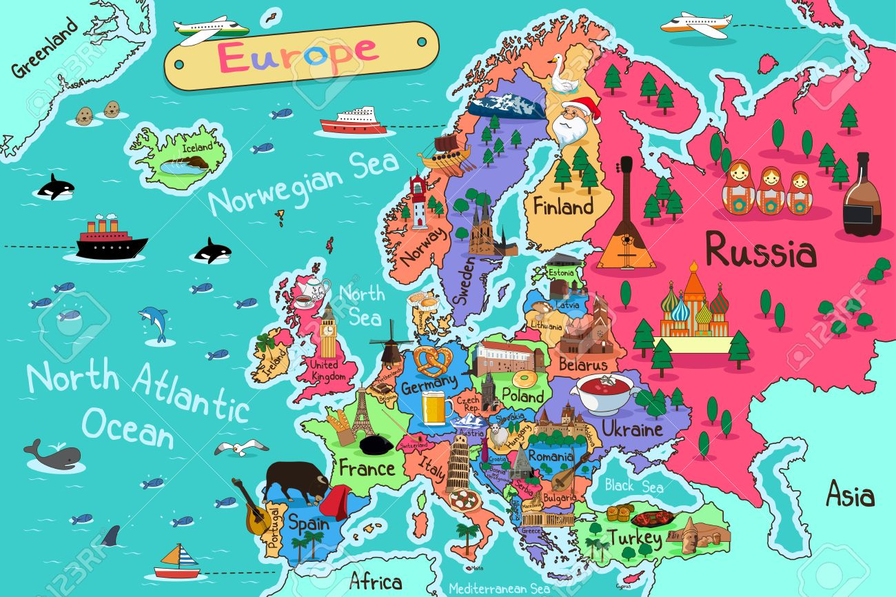 Europe Map.A Vector Illustration Of Europe Map In Cartoon Style Royalty Free