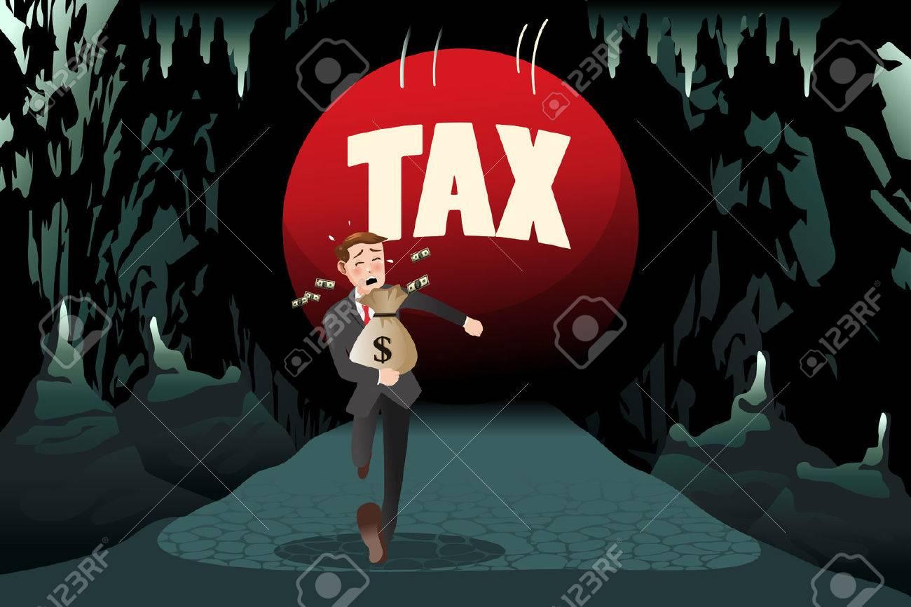 Une illustration de vecteur d'affaires fuyant la taxe pour le concept d'impôt Banque d'images - 50650040