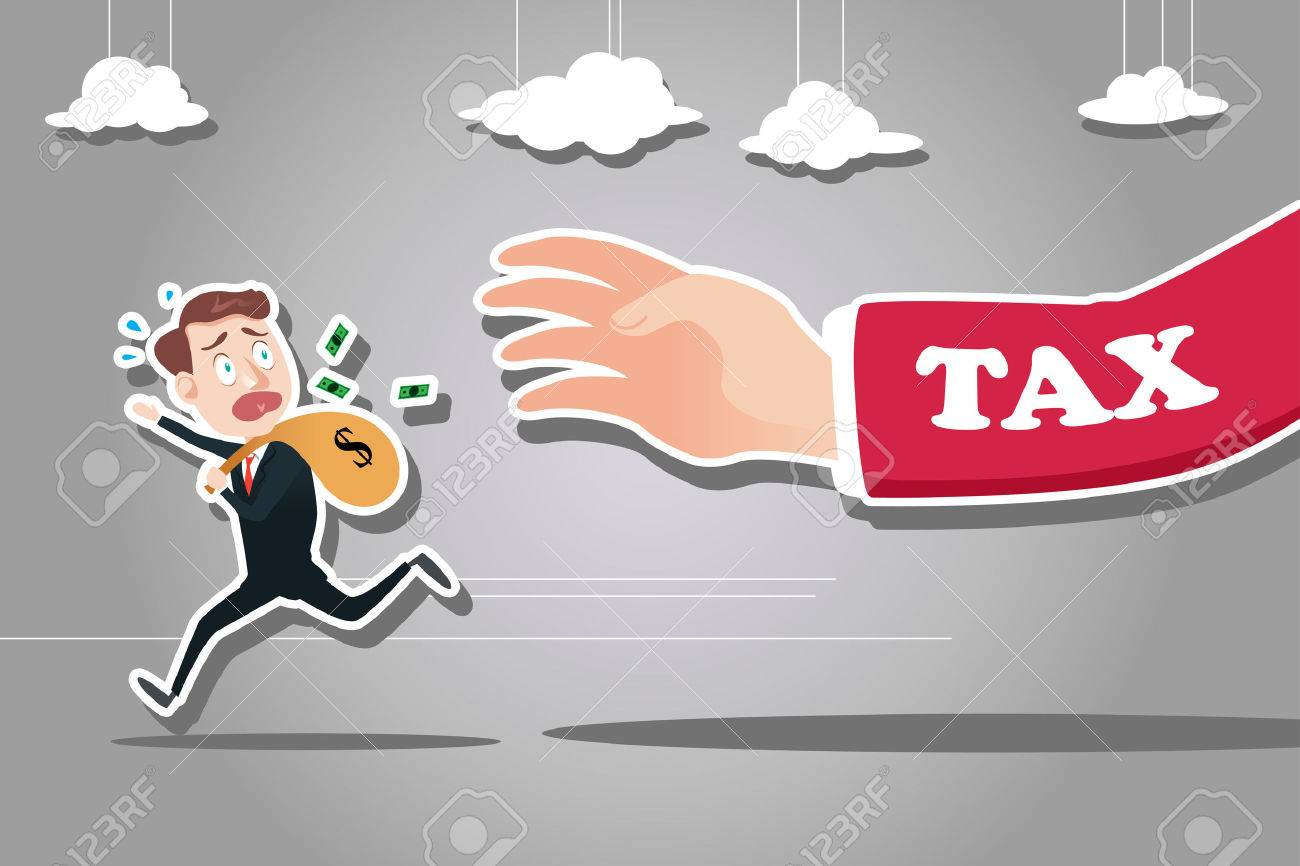 A vector illustration of businessman running away from tax for tax concept Stock Vector - 50898558