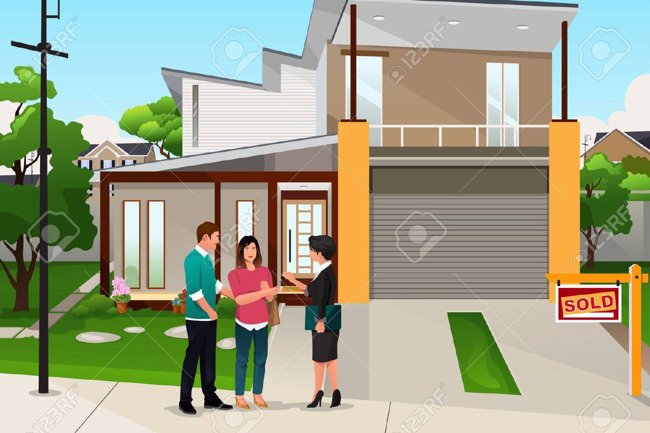 A vector illustration of real estate agent handing the key to a couple Stock Vector - 50898556