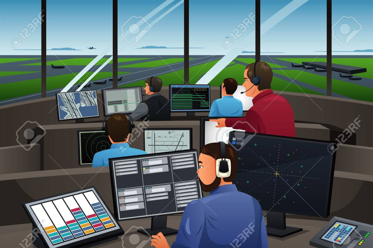 A vector illustration of air traffic controller working in the airport - 50898575