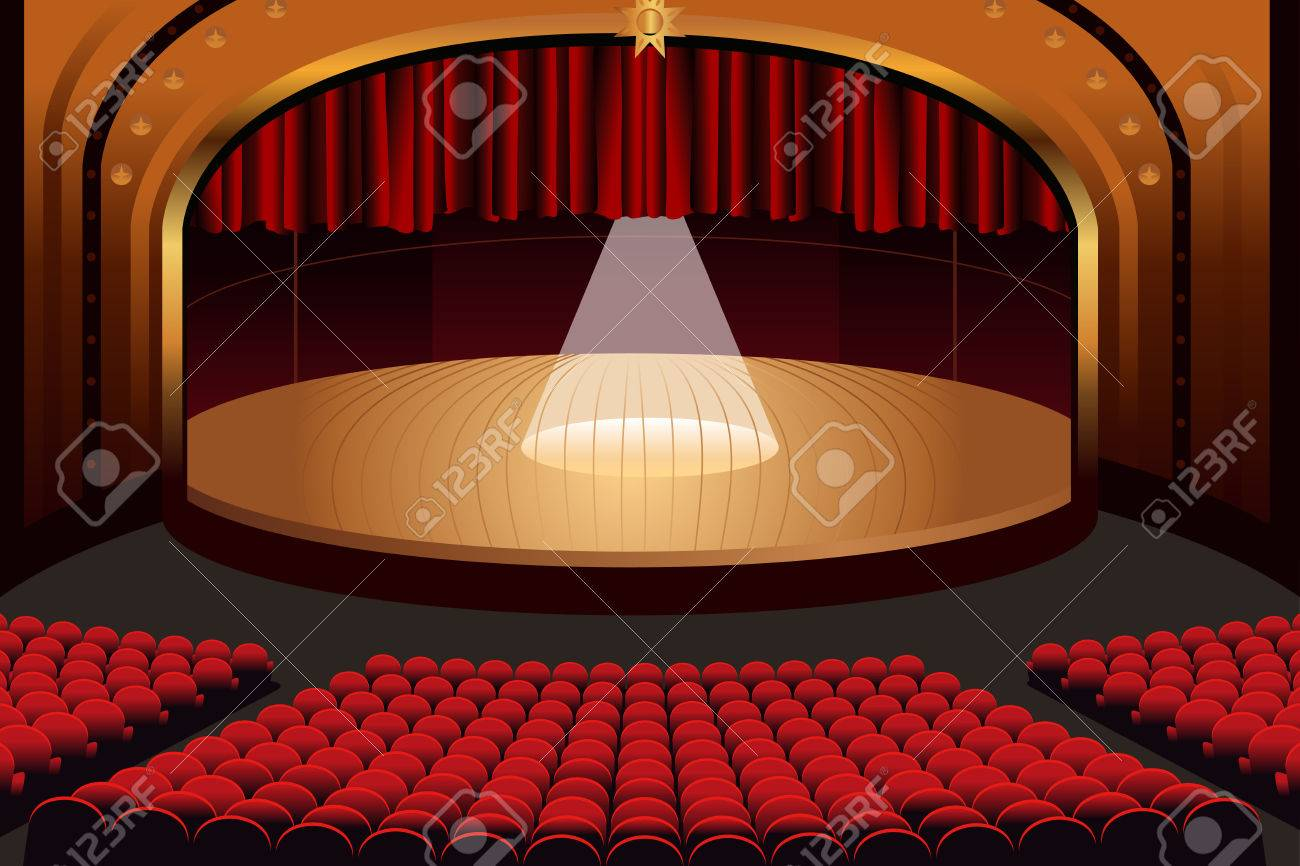 A Vector Illustration Of Empty Theater Stage Stock
