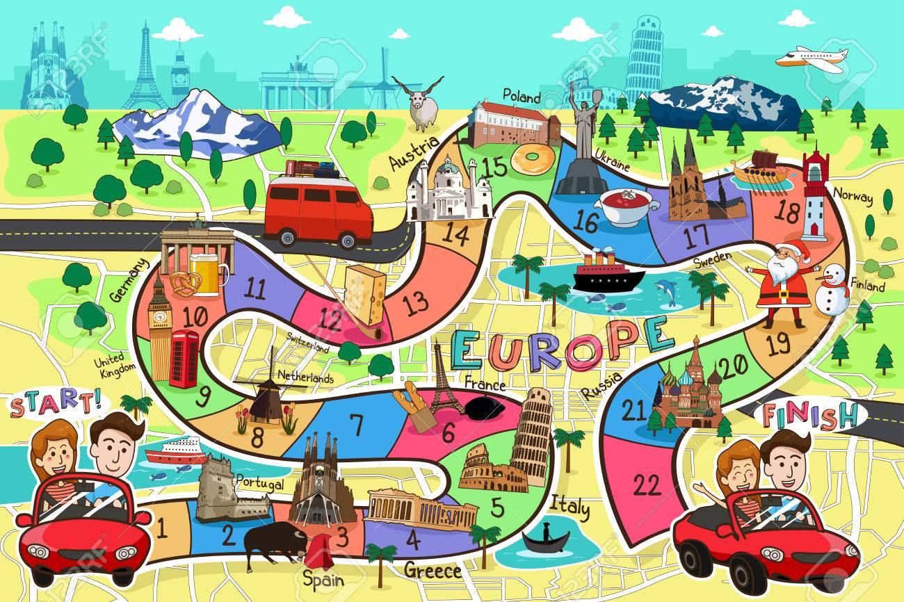 A vector illustration of Europe travel board game design - 53613740
