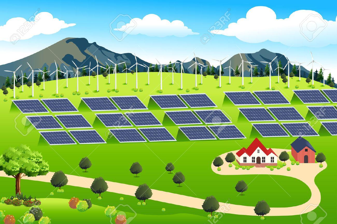 A vector illustration of wind turbines and solar panels farm Stock Vector - 53613747