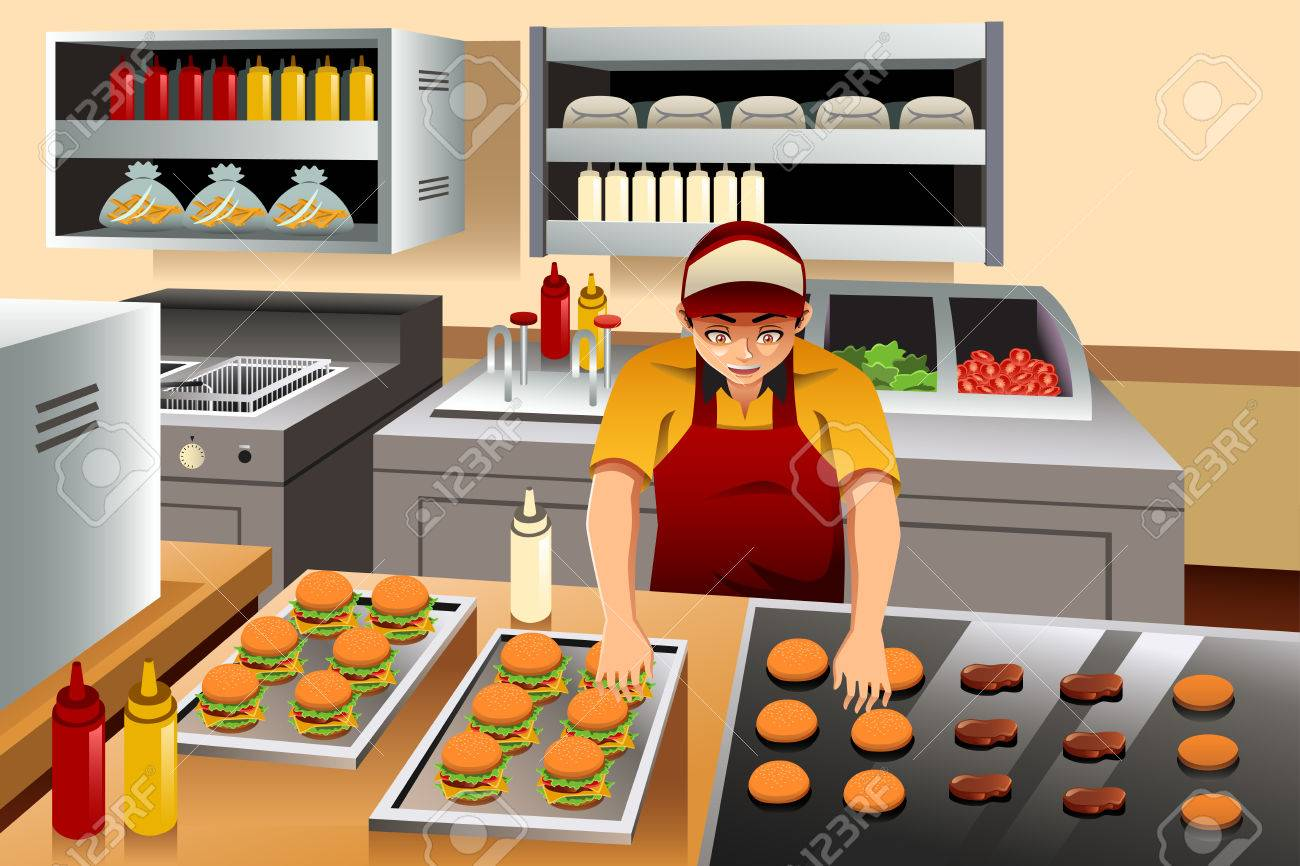 Restaurant Kitchen Illustration a vector illustration of man cooking burgers at a fast food