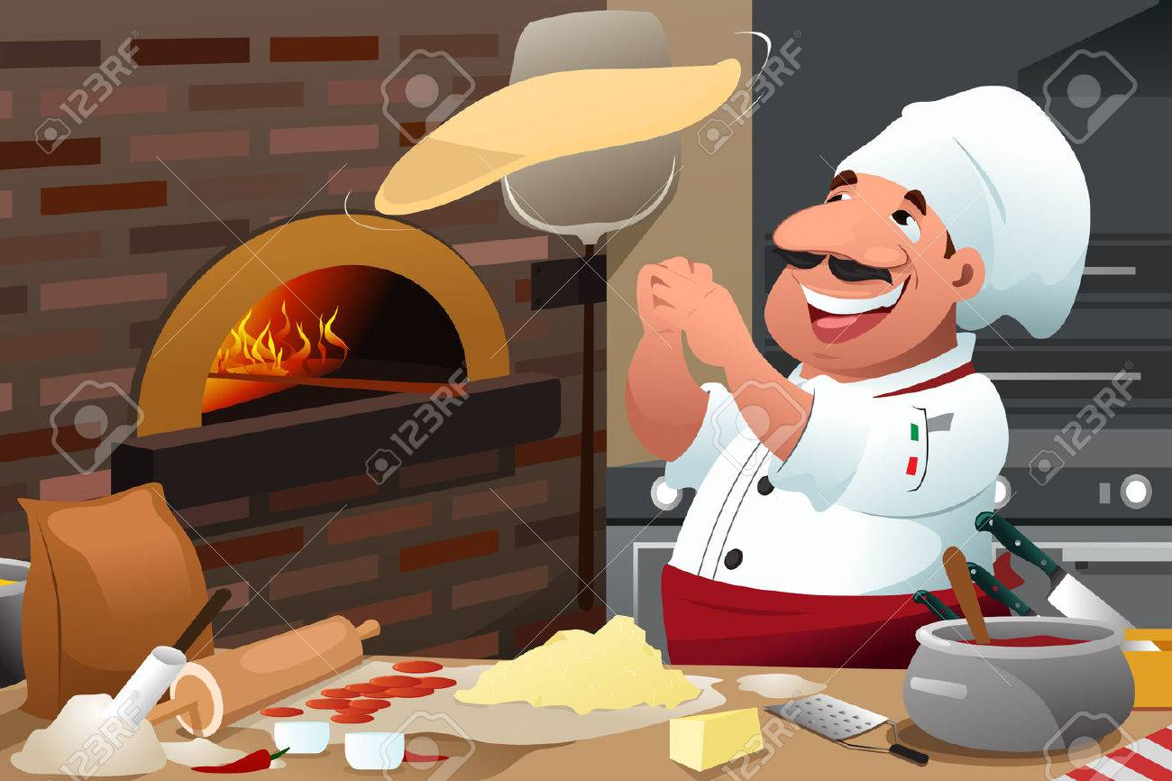 A vector illustration of Pizza chef tossing pizza dough in the air Banque d'images - 53613782