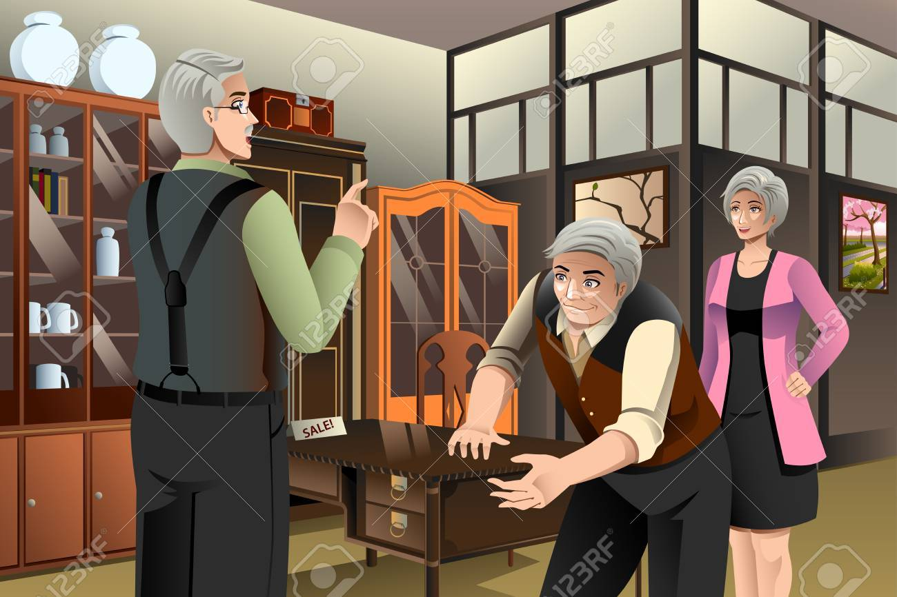A vector illustration of mature couple buying antique furniture at the  furniture store Stock Vector - - A Vector Illustration Of Mature Couple Buying Antique Furniture