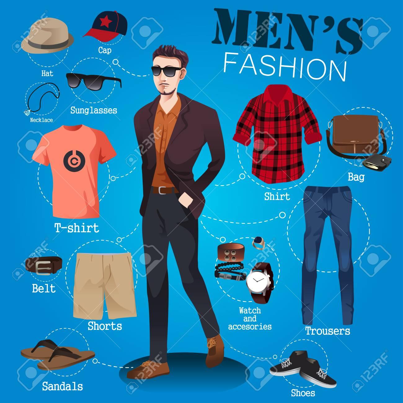 4e040b55019 A vector illustration of men fashion infographic Stock Vector - 55973631