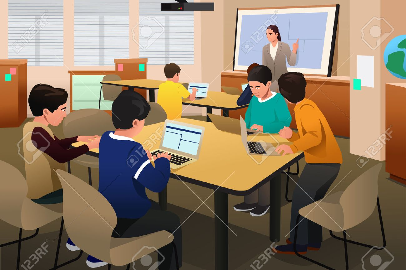 A vector illustration of kids in a computer programming class Stock Vector - 58450375