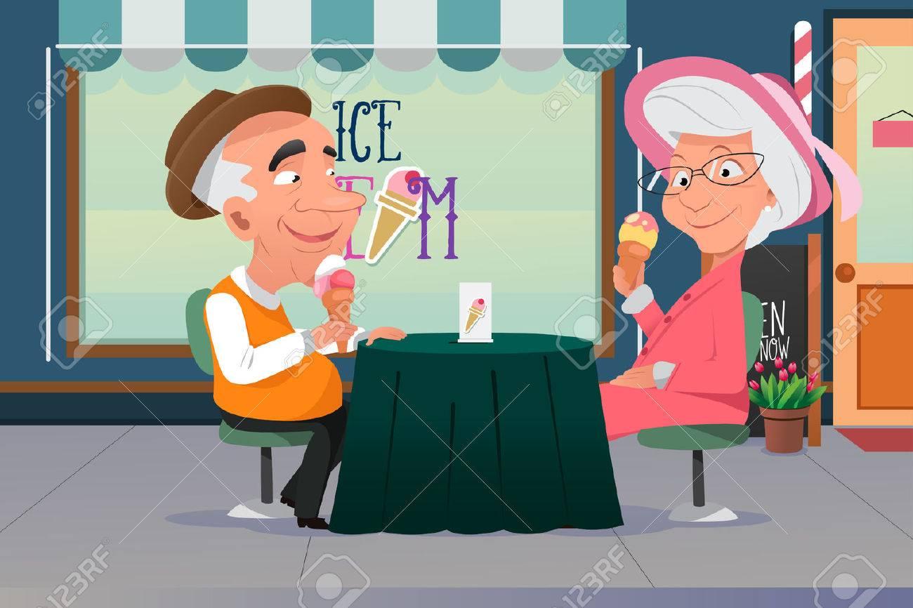 Una ilustración vectorial de viejo abuelo y la abuela comiendo helado juntos Foto de archivo - 58450424
