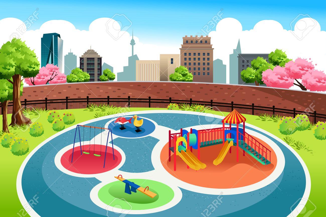Una Ilustracion Vectorial De Juegos Infantiles En El Fondo De La
