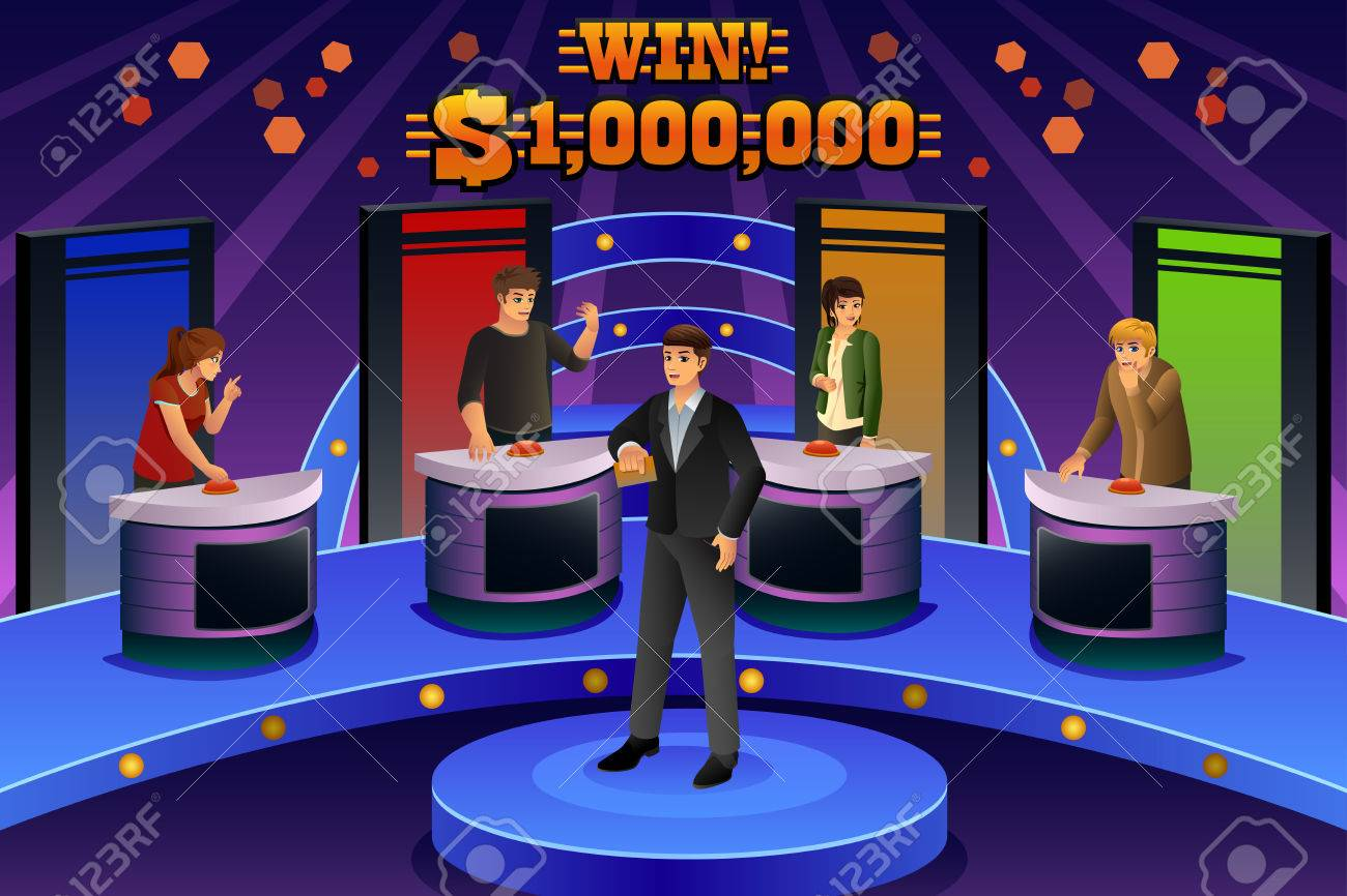 A vector illustration of people on game show - 59195675