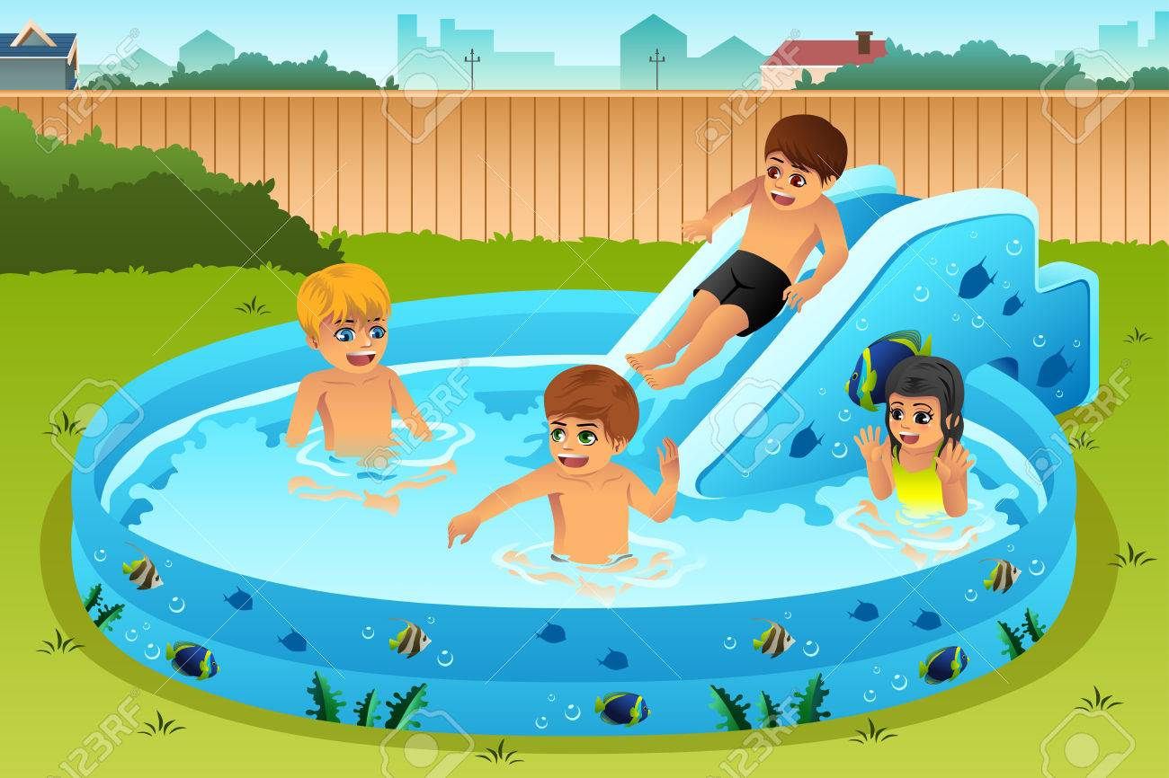 a vector illustration of children playing in inflatable pool