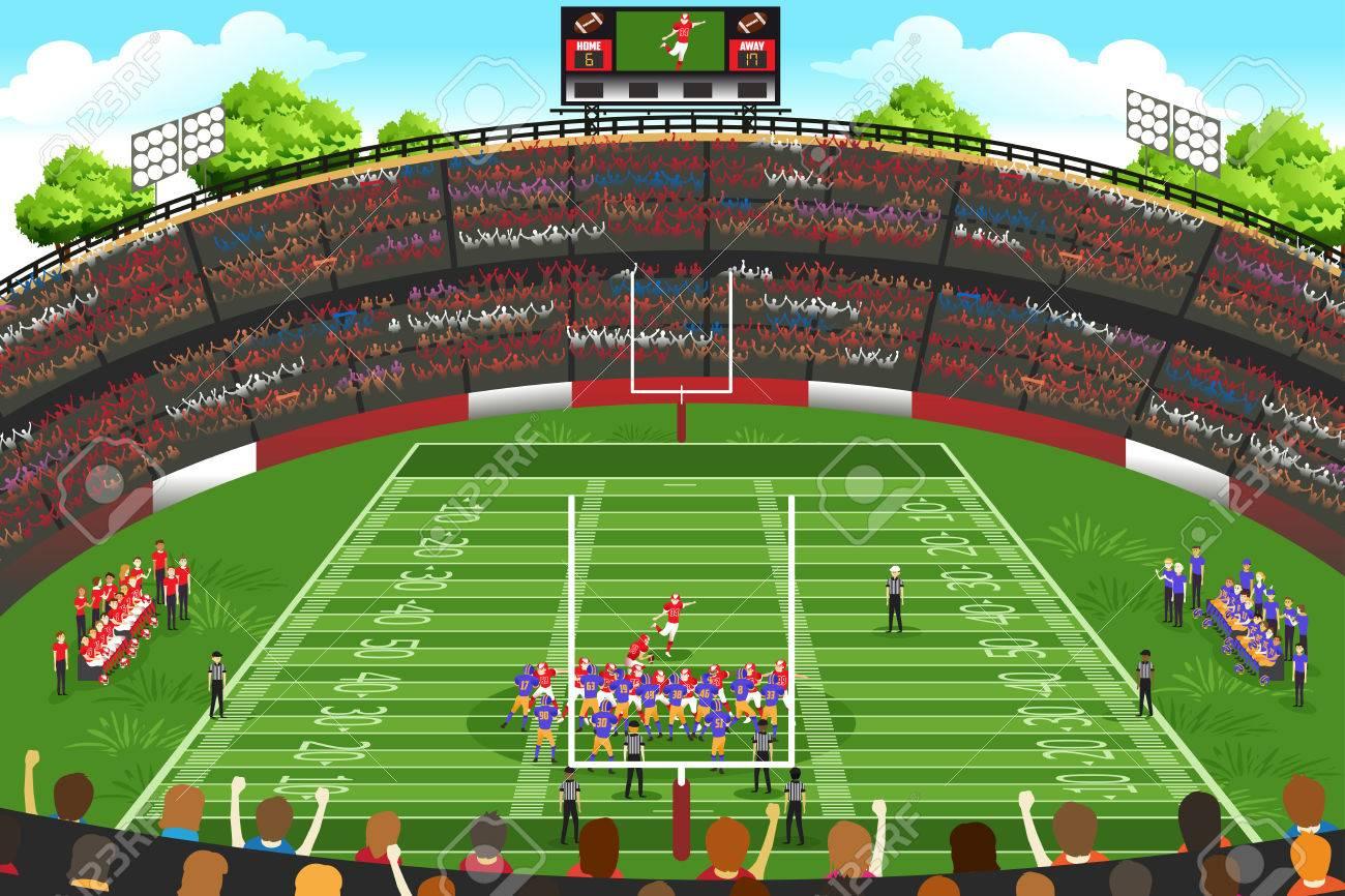 a vector illustration of american football stadium scene royalty rh 123rf com Football Field Graphic American Football Field Clip Art