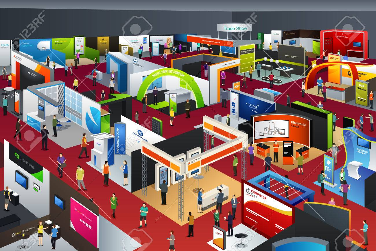 A vector illustration of people looking at an exhibition booths Stock Vector - 62407750