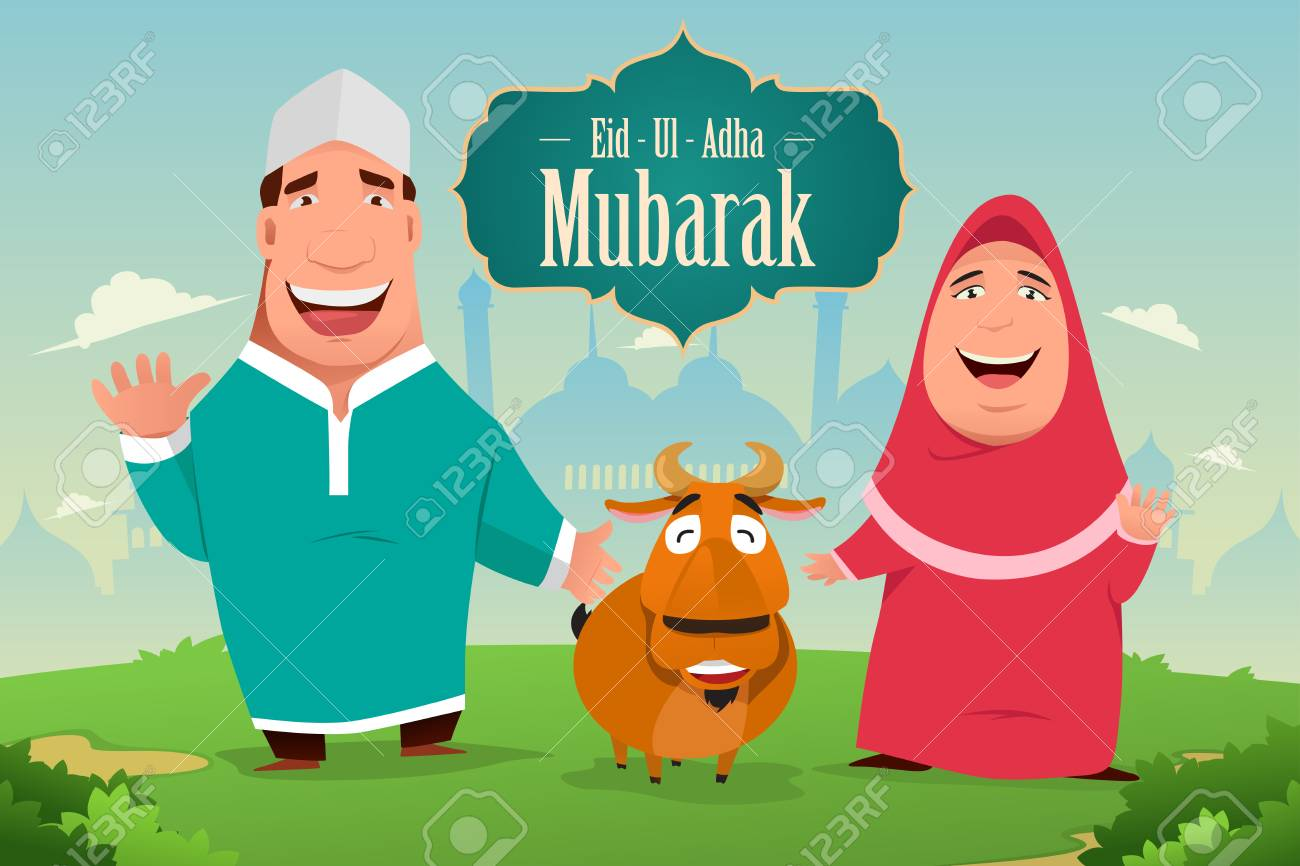 A vector illustration of eid ul adha mubarak greeting card design a vector illustration of eid ul adha mubarak greeting card design stock vector m4hsunfo