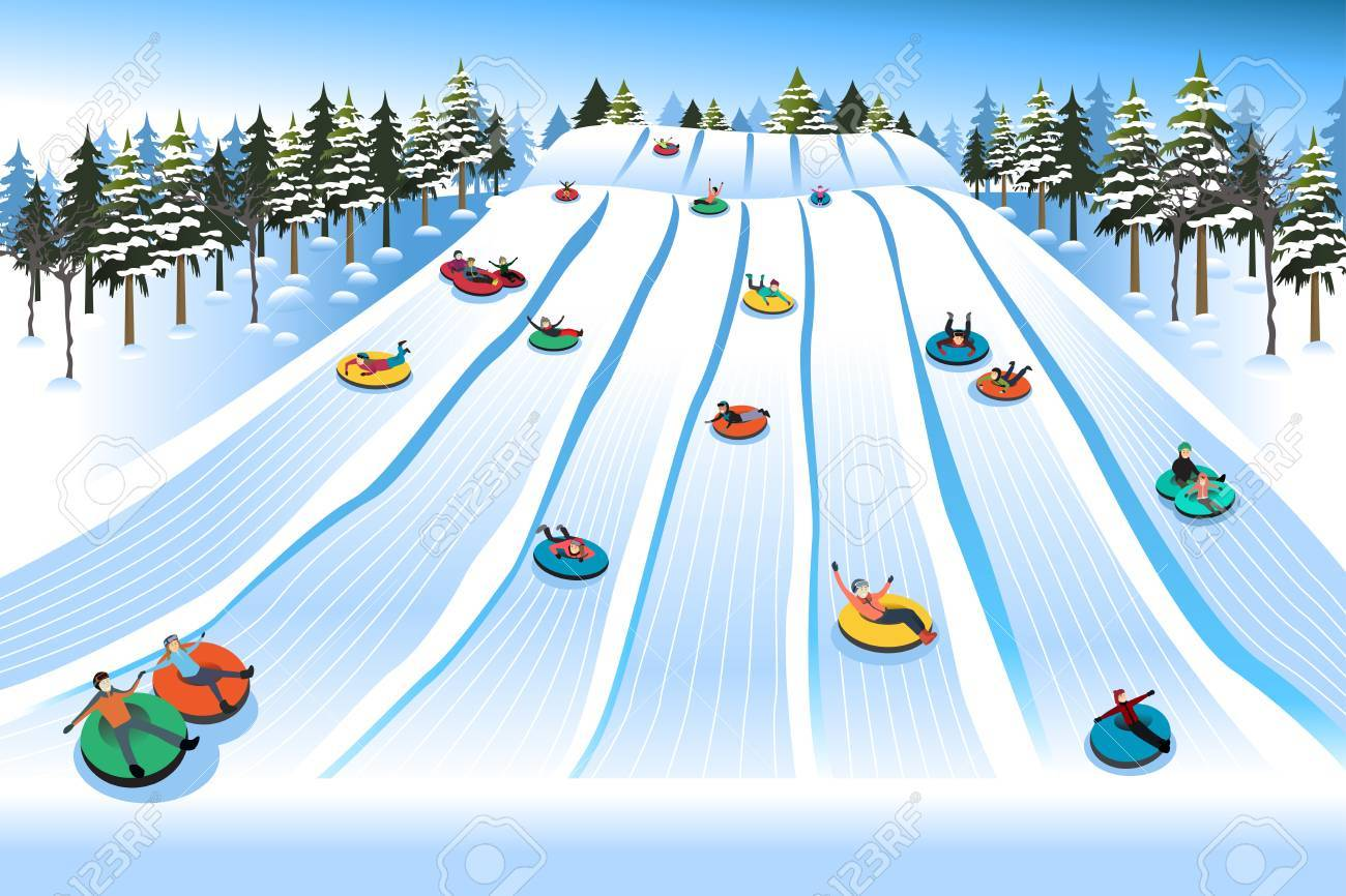 A vector illustration of People Having Fun Sledding on Tubing Hill During Winter - 63893327