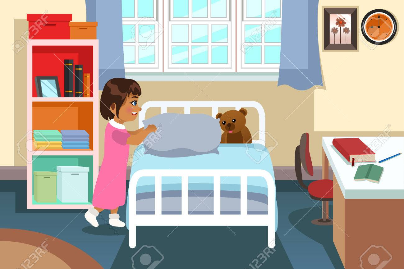 A Vector Illustration Of A Little Girl In Her Bedroom Royalty Free  # Muebles Himher S A