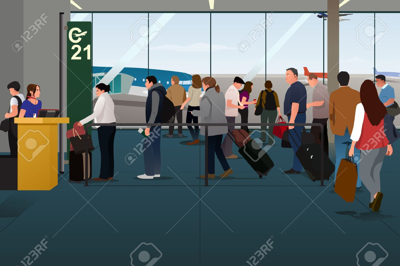 A Vector Illustration Of Plane Passengers Boarding The On Departure Gate Stock