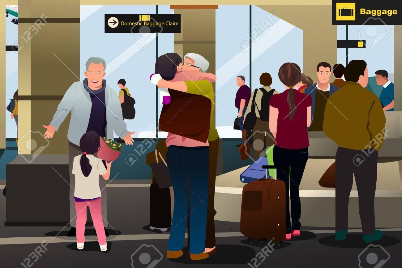 A vector illustration of Family Meeting at the Airport - 66454835