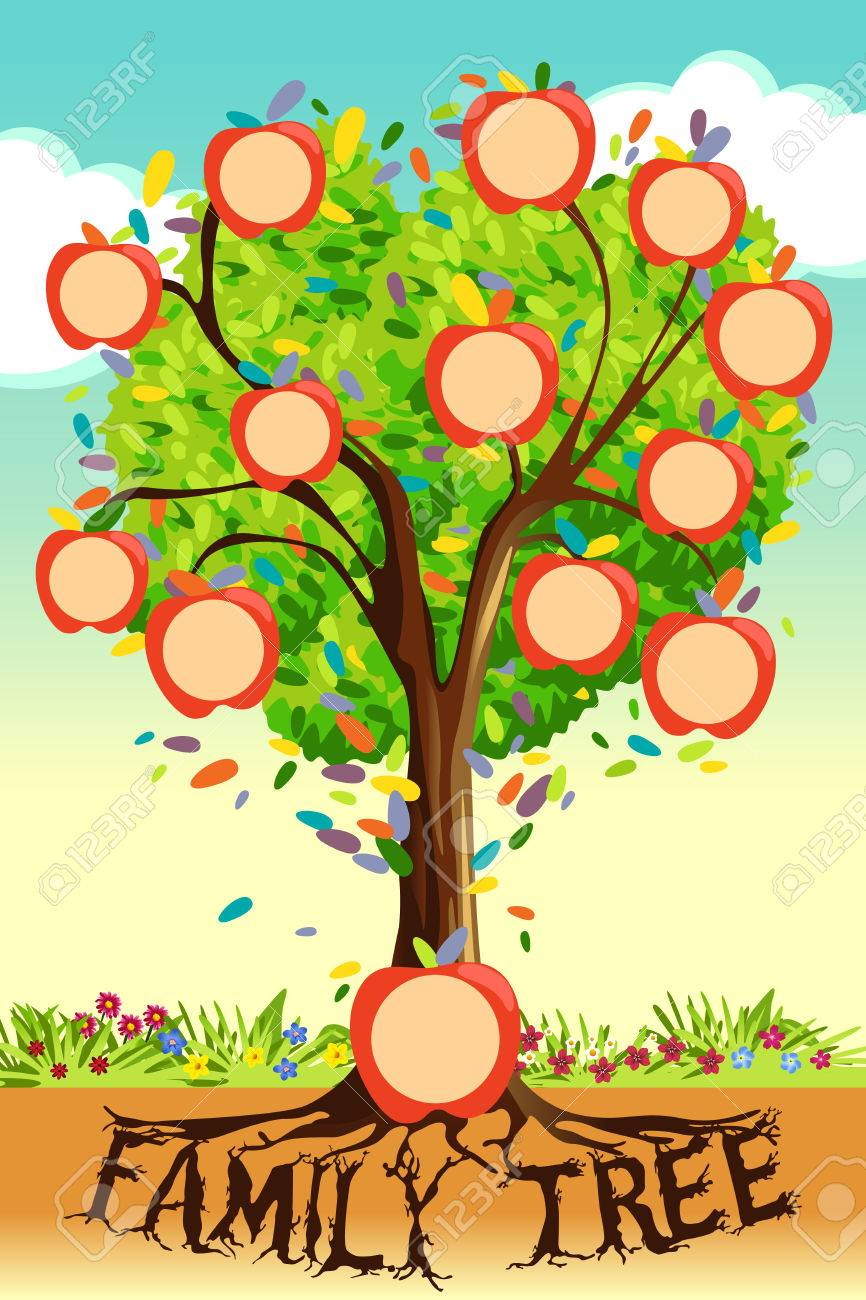 A Vector Illustration Of Family Tree Template Royalty Free