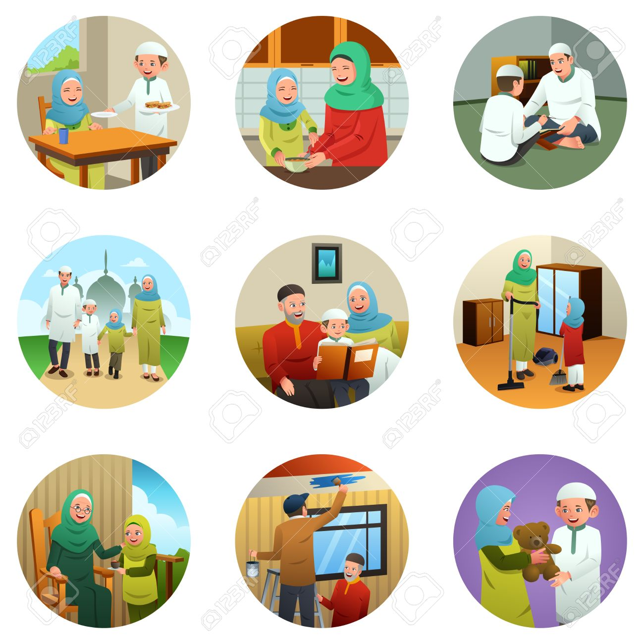 A Vector Illustration Of Muslim Family Doing Different Activities